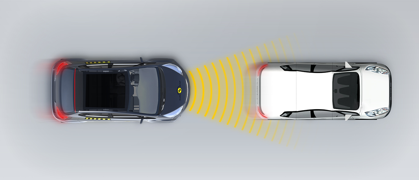 Сближение с автомобилем, движущимся с меньшей скоростью без смещения